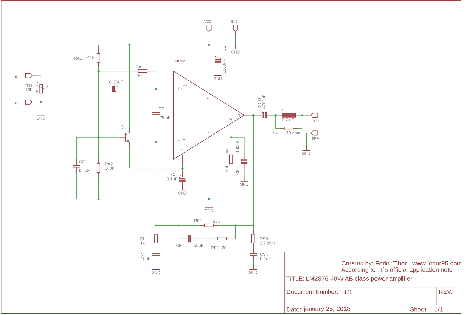 LM2876 40W AB class amplifier with schematic and PCB – fodor95